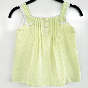 JANIE and JACK Lime Green / White Seersucker Top